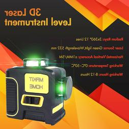 360 Rotary Self Leveling Green Laser Level 12 Lines 3D Cross