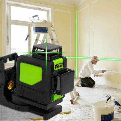 3D Laser Level 8 Line Green Self Leveling Outdoor 360° Rota