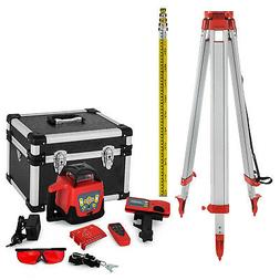 Rotary Laser Level + Tripod + Staff Self Leveling Red Constr
